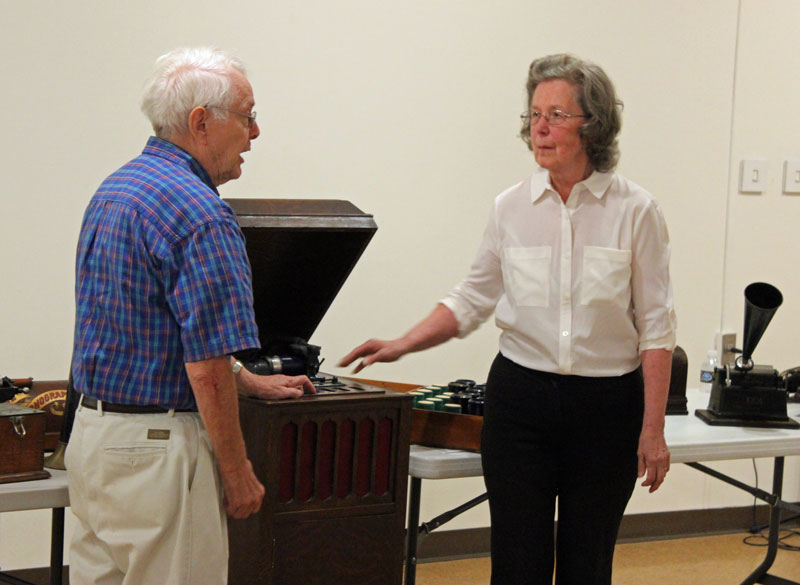 James and Joanne Ertel play the Edison phonograph