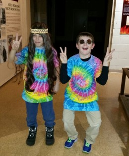 Two Groovy Guys, Cassidy Lutz (left) and Gavin Koropchak recently visited the Twentieth Century dress up area. The clothing was purchased with grant money given to the LCHS by the Free and Accepted Masons, Lodge #106. Photograph by Lisa Koropchak